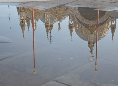 Saint Mark reflected on a pool