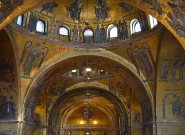 Saint Mark's Basilica inside with its glittering golden mosaics