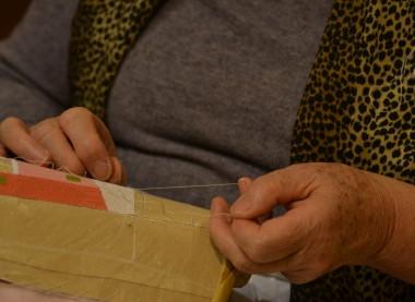 Woman knitting lace
